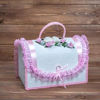 Свадебный сундучок для денег с розовой отделкой