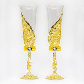 Свадебные бокалы с желтой росписью (арт.WG-009)