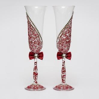 Свадебные бокалы цвета марсала (арт.WG-010)