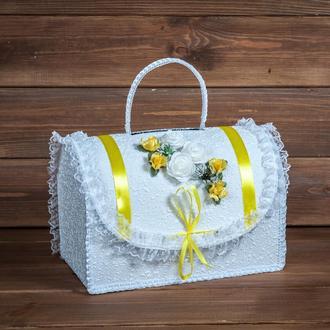 Свадебный сундучок для денег с желтым декором (арт. WMB-009)