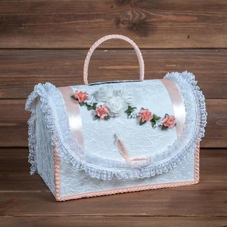 Свадебный сундук для денег с персиковым декором (арт. WMB-011)