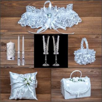 Свадебный набор аксессуаров белого цвета (арт. SN-001)