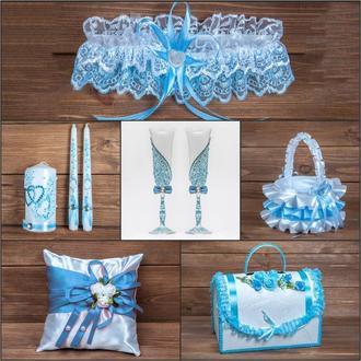 Свадебный набор аксессуаров в голубых тонах (арт. SN-008)
