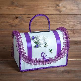 Фиолетовый свадебный сундучок для денег (арт. WMB-013)