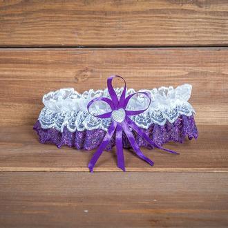 Бело-Фиолетовая Подвязка для невесты (арт. G-013-1)
