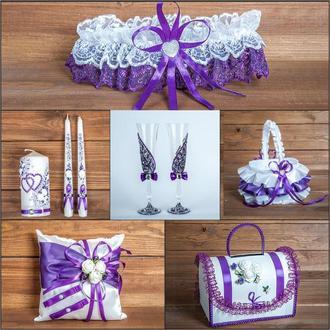 Свадебный набор аксессуаров фиолетового цвета (арт. SN-013)
