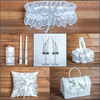 Свадебный набор аксессуаров серебристого цвета (арт. SN-015)