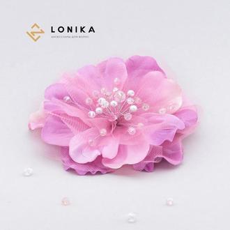 Цветок заколка, брошка в розовых тонах