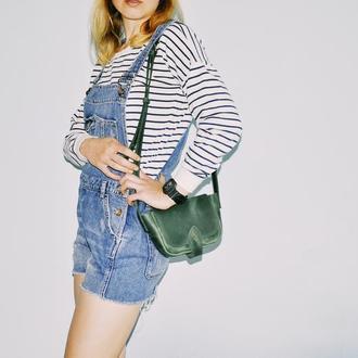 """Кожаная сумочка """"Фая"""" в зеленом цвете"""