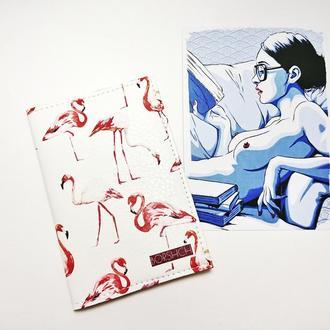 """Обложка на паспорт, """"фламинго"""", экокожа"""