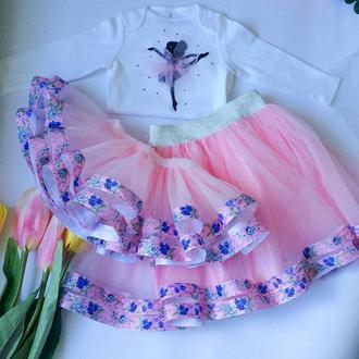 Фатиновая юбка, именной бодик. Наряд на день рождения