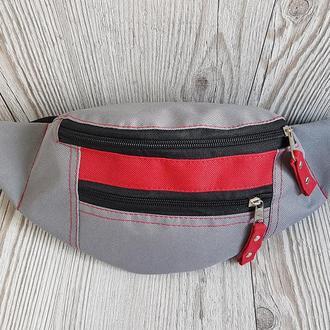 Поясная сумка серая с красным