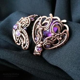 """Медный браслет с аметистами """"Цветок"""" с регулирующимся размером. Wire wrap украшение"""