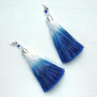 Сережки-кисточки синее омбре