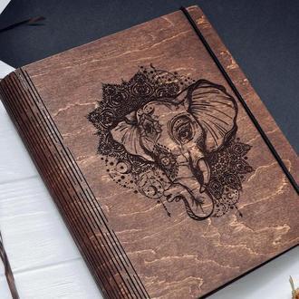 """Блокнот из дерева / Деревянный блокнот / Скетчбук """"Elephant"""""""