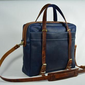 """Кожаная мужская сумка через плечо синяя """"Бизнес сумка"""""""