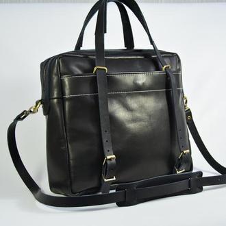 """Кожаная мужская сумка через плечо чёрная  """"Бизнес сумка"""""""