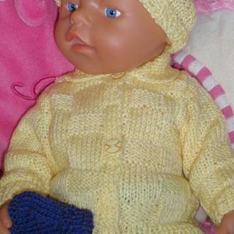 комплект вязаной одежды для пупса беби борн