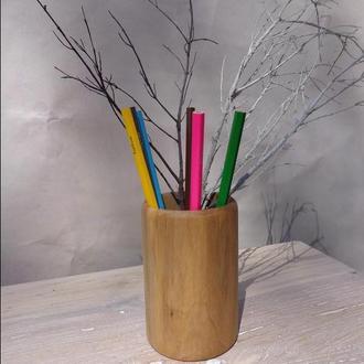 подставка из дерева под карандаши