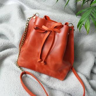 Сумка-мешок на шнурке из натуральной кожи. Цвет терракотовый