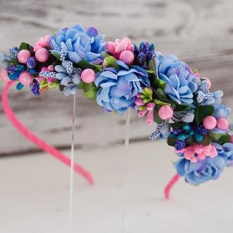 Розово-голубой обруч для волос