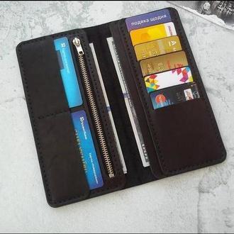 Мужское портмоне, кожаний кошелек, бумажник  с отделом на молнии
