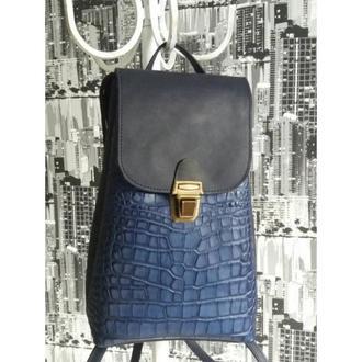 Рюкзак из натуральной кожи CrazyHorse + рептилия. Цвет синий.