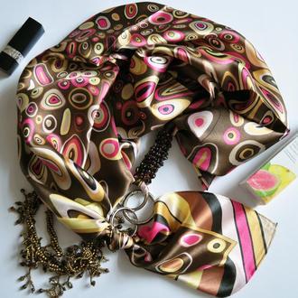 """""""Мокко с карамелью"""" атласный шарф, шелковый шарф, атласный платок, шарф-ожерелье"""