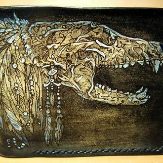 Кожаный кошелек Винтаж в черном цвете
