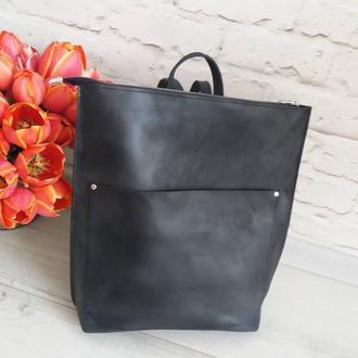 Сумка-рюкзак из натуральной кожи CrazyHorse. Цвет черный. Ручная работа
