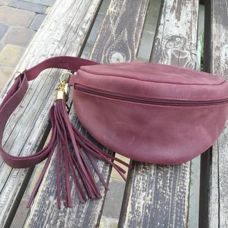 Поясная сумка из натуральной кожи CrazyHorse. Цвет Бордовый. Ручная работа