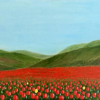 """Картина маслом интерьерная пейзаж """"Долина тюльпанов"""""""