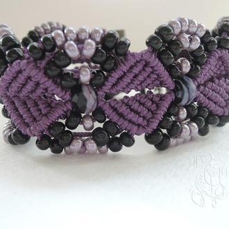 """Фиолетовый браслет из бисера и бусин """"Ночь Дамаска"""""""