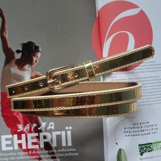 Узкий женский ремень золото металлик