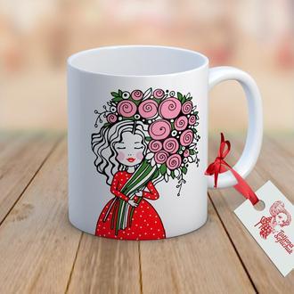 """Дизайнерская чашка с авторским рисунком  """"Поздравляю"""""""