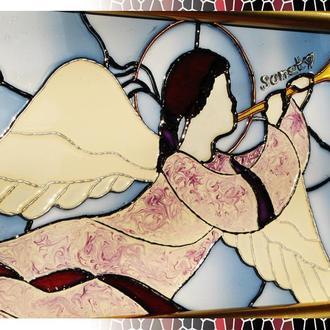 Витражная роспись по стеклу Ангел хранитель