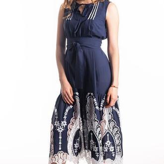 Синее платье из шитья