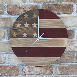 """Эксклюзивные круглые деревянные настенные часы """"Флаг США"""""""