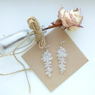 Серьги из хрусталя, свадебные серьги, сережки