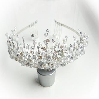 Свадебная диадема, тиара, корона, нежная диадема , диадема на выпускной