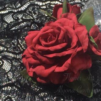 Заколка для волос «Красная роза»