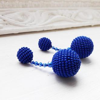 Бісерні сережки кульки зі скляними намистинами, бисерные серьги-шарики