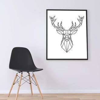 Графический постер Геометрический олень