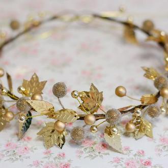 Яркий золотой венок веночек на голову под любой наряд