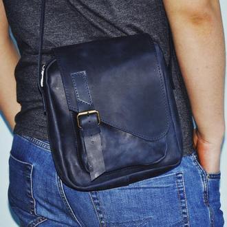 Кожаная сумка Дэниел в темно-синем цвете