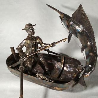 скульптура старик и море из нержавеющей стали ручной работы