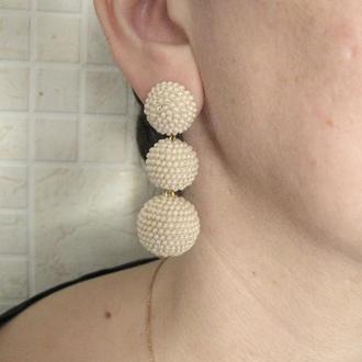 Серьги айвори бон бон из бисерных шариков