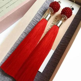 Красные шелковые серьги-кисти, яркие сережки кисточки LILEI JEWELRY