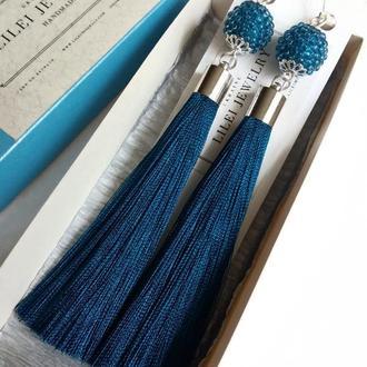 Яркие синие шелковые серьги-кисти, сережки-кисточки цвета морской волны LILEI JEWELRY