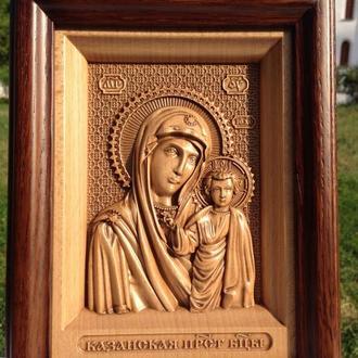 Резная икона деревянная Казанской Пресвятой Богородицы (Казанской Божьей Матери)
